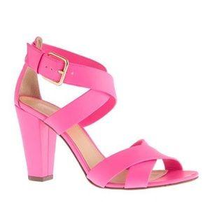 J. Crew Mari Heels In Hot Pink